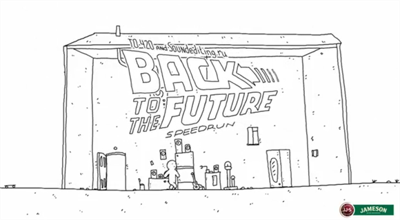 バック・トゥ・ザ・フューチャー1をたった60秒で表現した手書き風アニメ